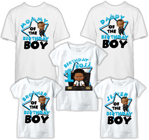 DESIGN206 - Birthday Boy Black African American Boss Baby T Shirt - Family Pack