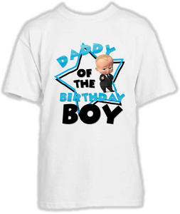DESIGN216 - Birthday White Blonde Boss Baby Dad Daddy Father T Shirt