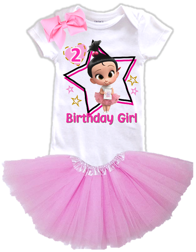 DESIGN242 - Birthday Girl Staci Boss Baby Layered Tutu Outfit Dress Set - 3 Piece Set