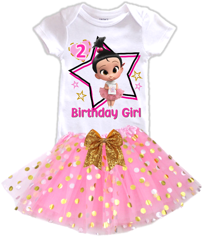 DESIGN243 - Birthday Girl Staci Boss Baby Gold Dots Tutu Outfit Dress Set - 2 Piece Set