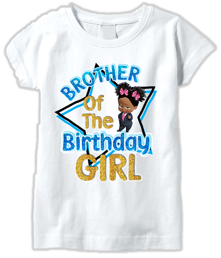 DESIGN225 - Birthday Black African American Girl Boss Baby Brother T Shirt or Baby Bodysuit