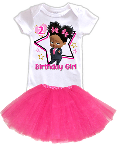 DESIGN229 - Birthday Black African American Girl Boss Baby Layered Tutu Outfit Dress Set - 2 Piece Set