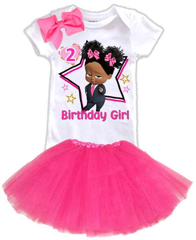 DESIGN230 - Birthday Black African American Girl Boss Baby Layered Tutu Outfit Dress Set - 3 Piece Set