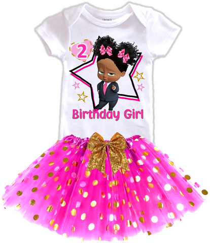 DESIGN231 - Birthday Black African American Girl Boss Baby Gold Dots Tutu Outfit Dress Set - 2 Piece Set