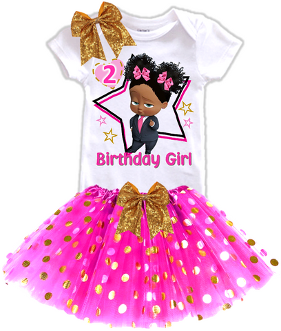 DESIGN232 - Birthday Black African American Girl Boss Baby Gold Dots Tutu Outfit Dress Set - 3 Piece Set
