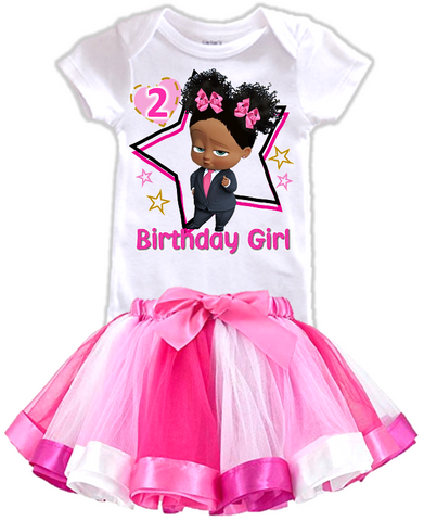 DESIGN233 - Birthday Black African American Girl Boss Baby Rainbow Ribbon Tutu Outfit Dress Set - 2 Piece Set