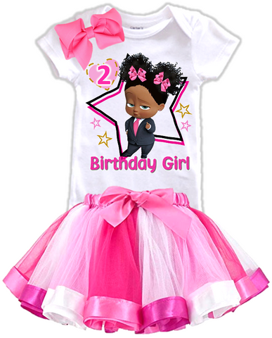 DESIGN234 - Birthday Black African American Girl Boss Baby Rainbow Ribbon Tutu Outfit Dress Set - 3 Piece Set