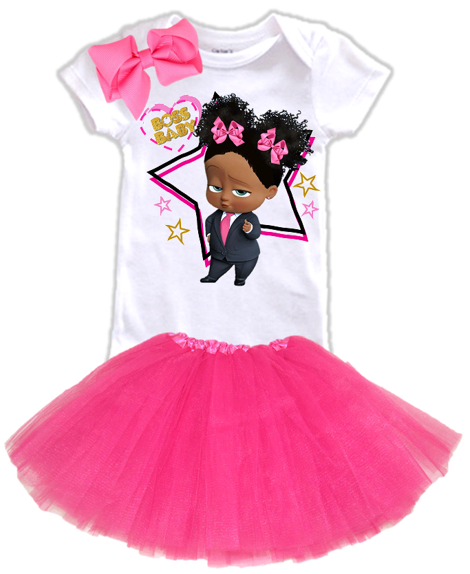 DESIGN236 - Black African American Girl Boss Baby Layered Tutu Outfit Dress Set - 3 Piece Set