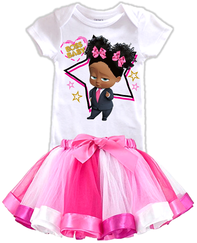 DESIGN239 - Black African American Girl Boss Baby Rainbow Ribbon Tutu Outfit Dress Set - 2 Piece Set