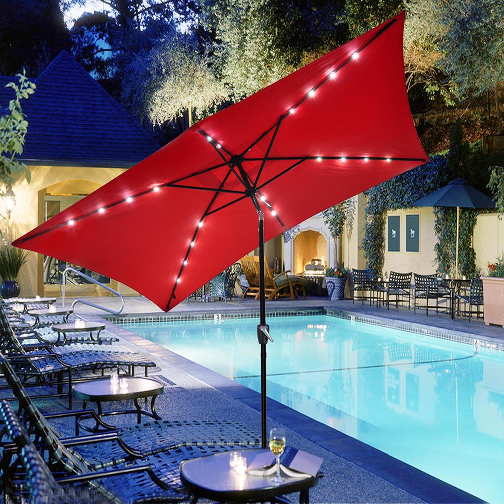 AOODA LED Lighted Patio Umbrella LED Solar Power Table Market Umbrella, with Tilt Adjustment and Crank Lift System