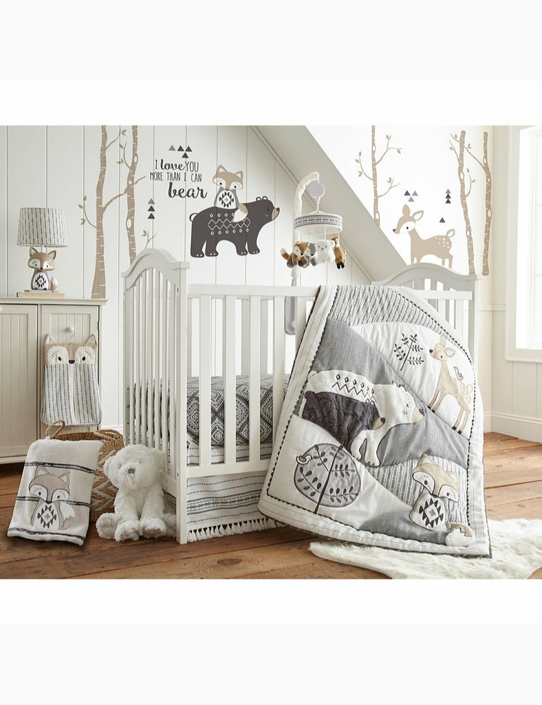 Levtex Baby - Bailey Crib Bed Set - Baby Nursery Set - Charcoal, Taupe, White - Neutral Forest Theme