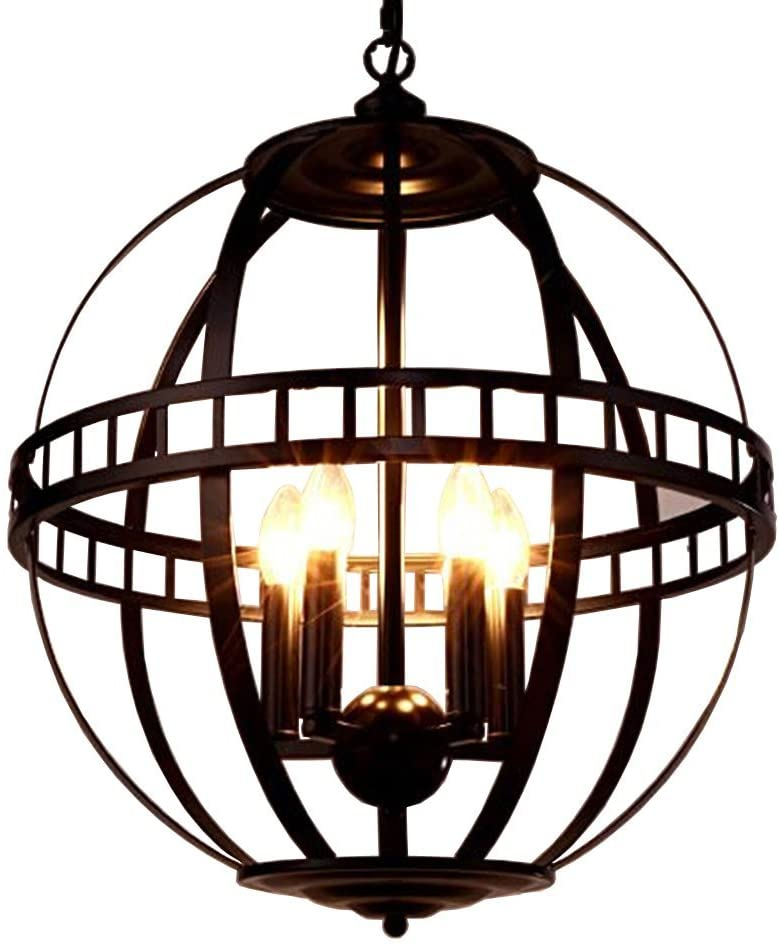 BAYCHEER HL444239 Industrial Vintage Chandelier Hanging Lamp with Metal Cage (Black) -15.7 Inches