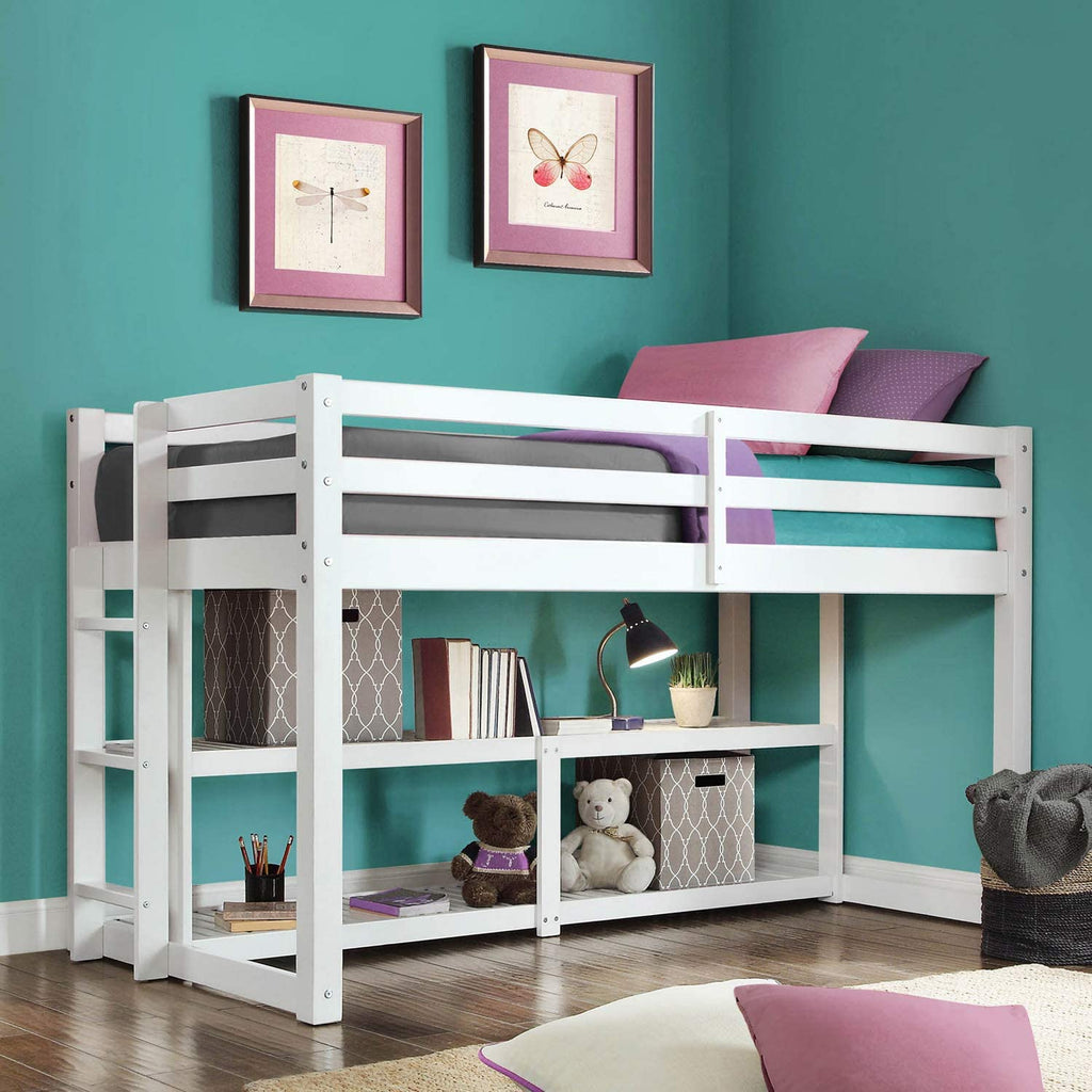 Kids Solid White Wood Loft Twin Bunk Bed Frame with Under Bed Storage Shelves