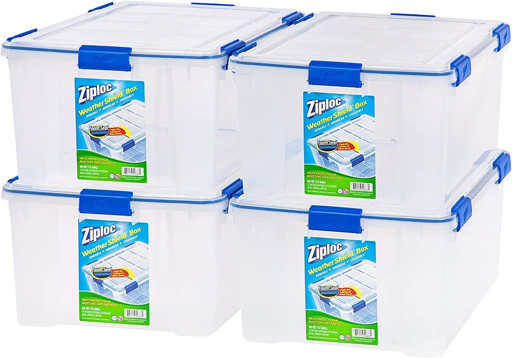 Ziploc 60-Quart (15 Gallon) WeatherShield Storage Box, clear, 4-Pack