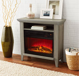 Mainstays Infrared Quartz Fireplace Heater with Storage Shelf, Gray Finish
