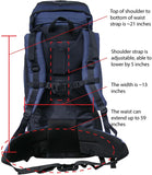 HBAG Discovery 80L 5400ci Internal Frame Camping Hiking Backpack (Navy Blue)