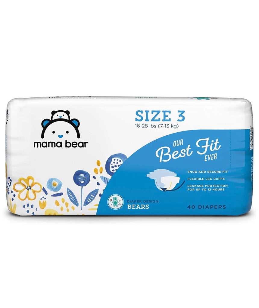 Mama Bear Best Fit Diapers Size 3, 40 Count, Bears Print