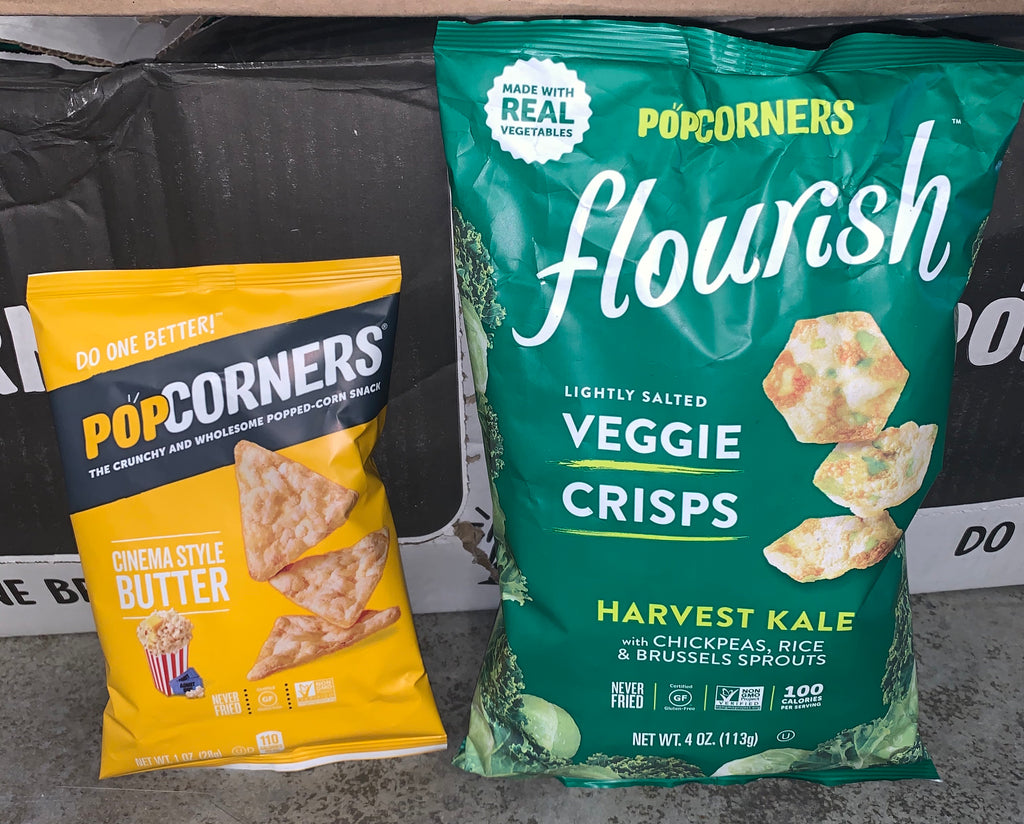 PopCorners Cinema style butter snack and flourish harvest kale veggie crisps