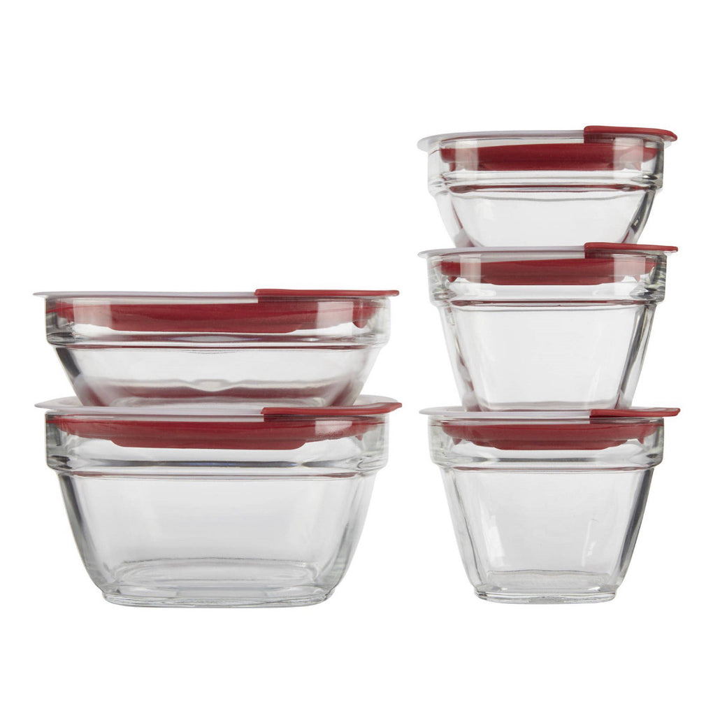 Rubbermaid Easy Find Lids Glass Food Storage and Meal Prep Containers (2 sets of 10 pieces)