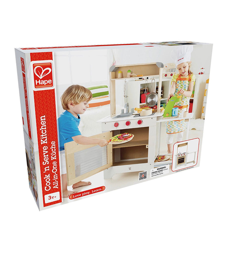 Hape Cook 'N Serve Kids Contemporary Design Pretend Play Wooden Cooking Kitchen