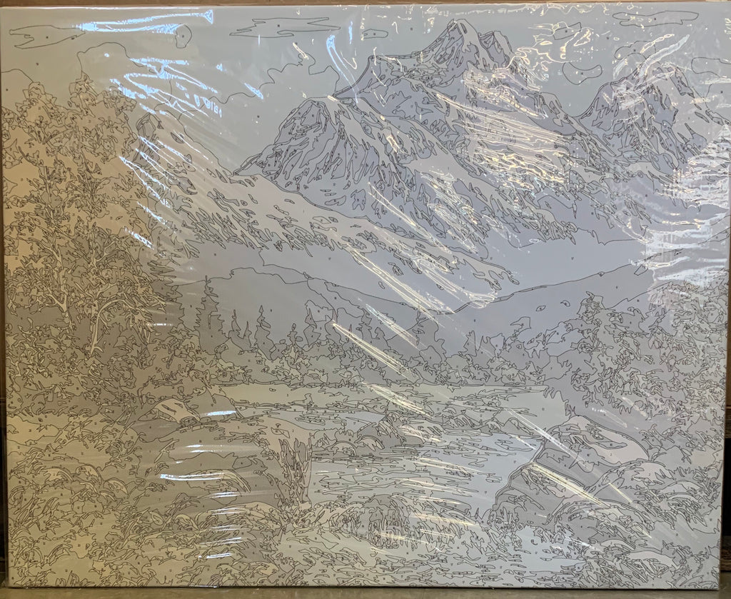 Arts Language Wooden Framed Picture On Wall Acrylic Paint by Numbers DIY Painting Snow Mountain