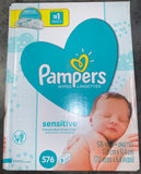 Pampers Sensitive Baby Wipes, 9X Refill (Tub Not Included) 576 Ct