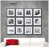 Gallery Perfect Gallery Wall Kit Square Photos with Hanging Template Picture Frame Set