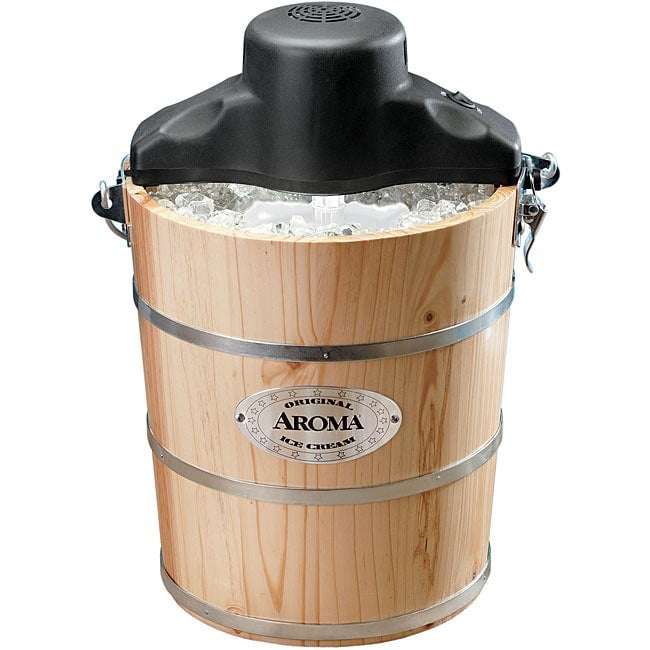 Aroma Housewares 6-Quart Wood-Barrel Ice-Cream Maker, Natural