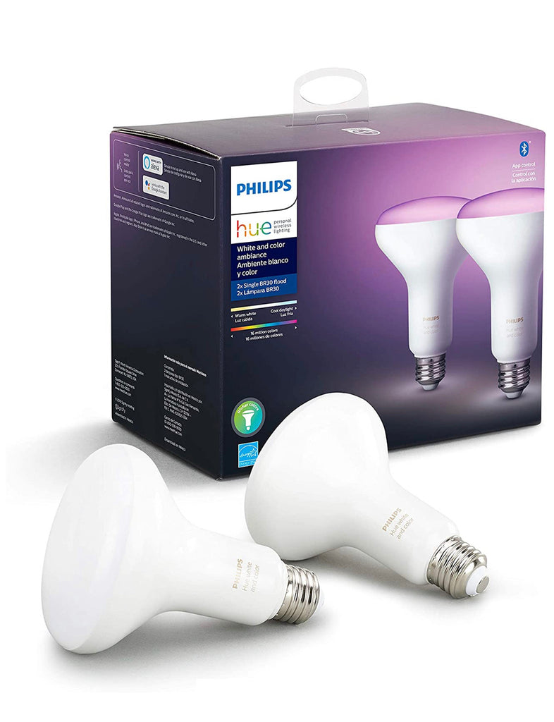 Philips - Hue White & Color Ambiance BR30 Bluetooth Smart LED Bulb (2-Pack) - Multicolor