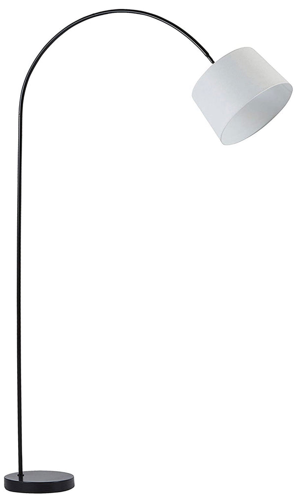 Stone & Beam Lily Modern Arc Living Room Floor Lamp With Light Bulb And Taupe Shade - 83 x 15 x 53 - 60 Inches, Black