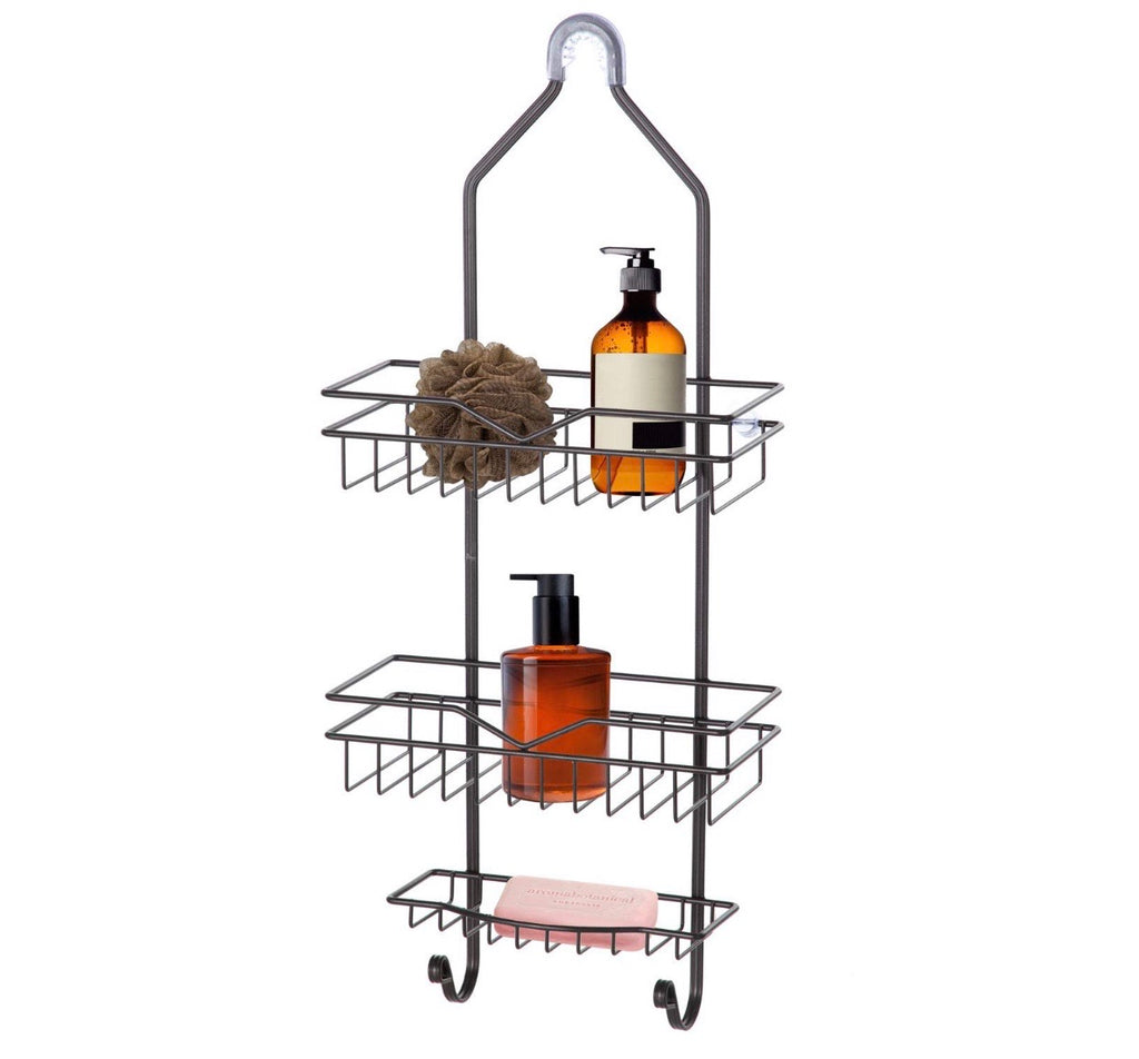 Home Zone Bath Shower Caddy, 3 Tier With Soap Tray And 2-Hooks