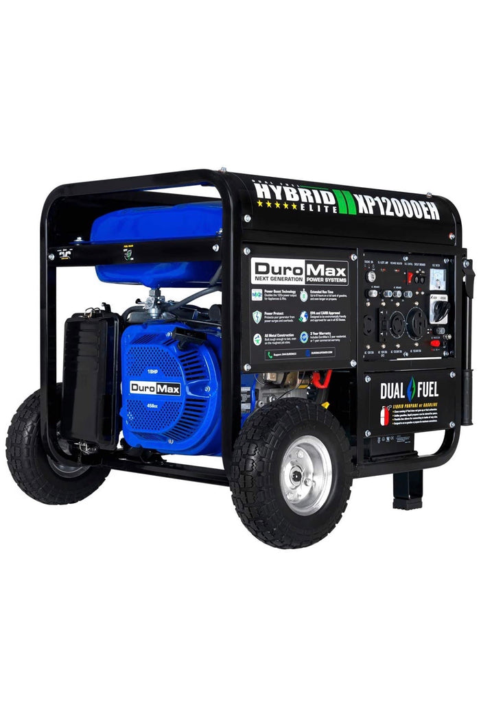 DuroMax XP12000EH Dual Fuel Portable Generator - 12000 Watt Gas or Propane Powered