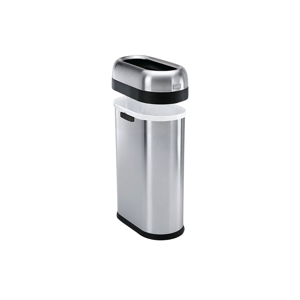 simplehuman® Brushed Stainless Steel 50-Liter Slim Open Can