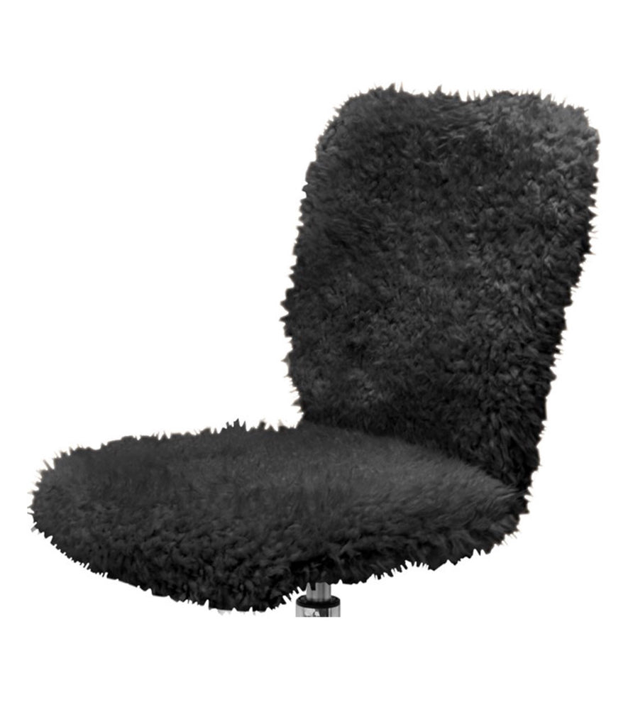 Urban Shop Faux Fur Armless Swivel Task Office Chair in Black