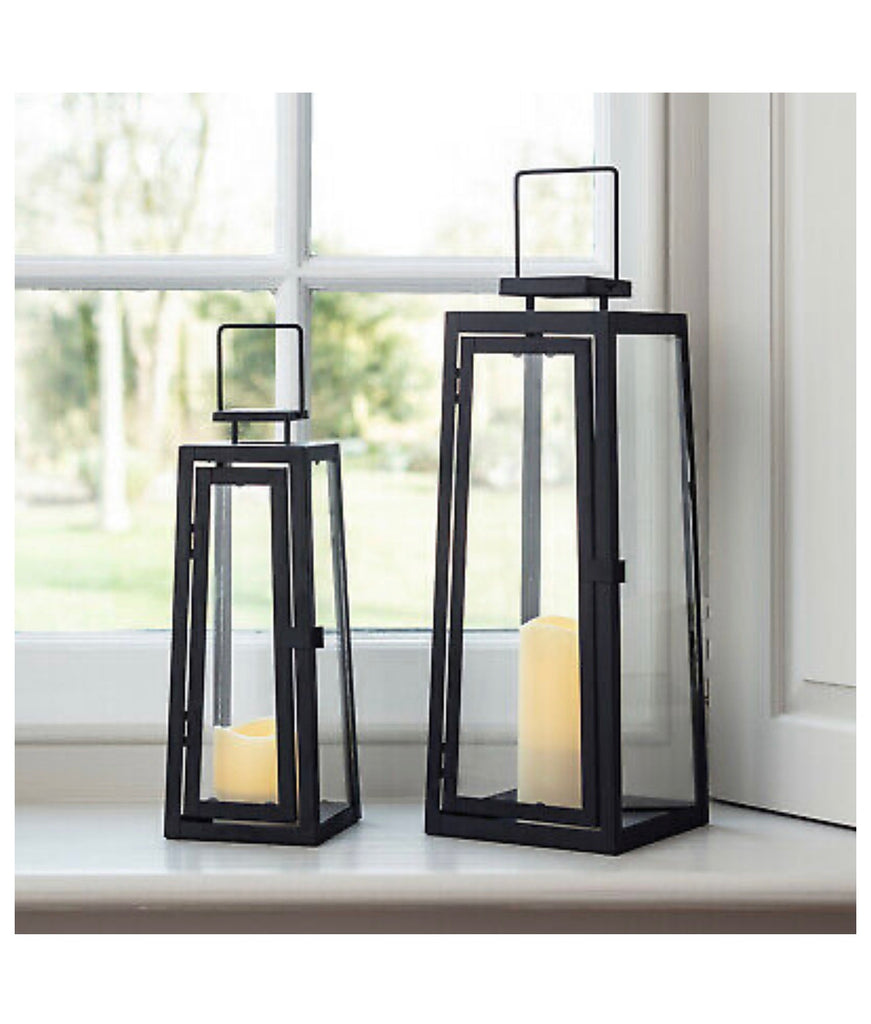 Set of 2 Black Metal Battery Operated LED Flameless Candle Lanterns