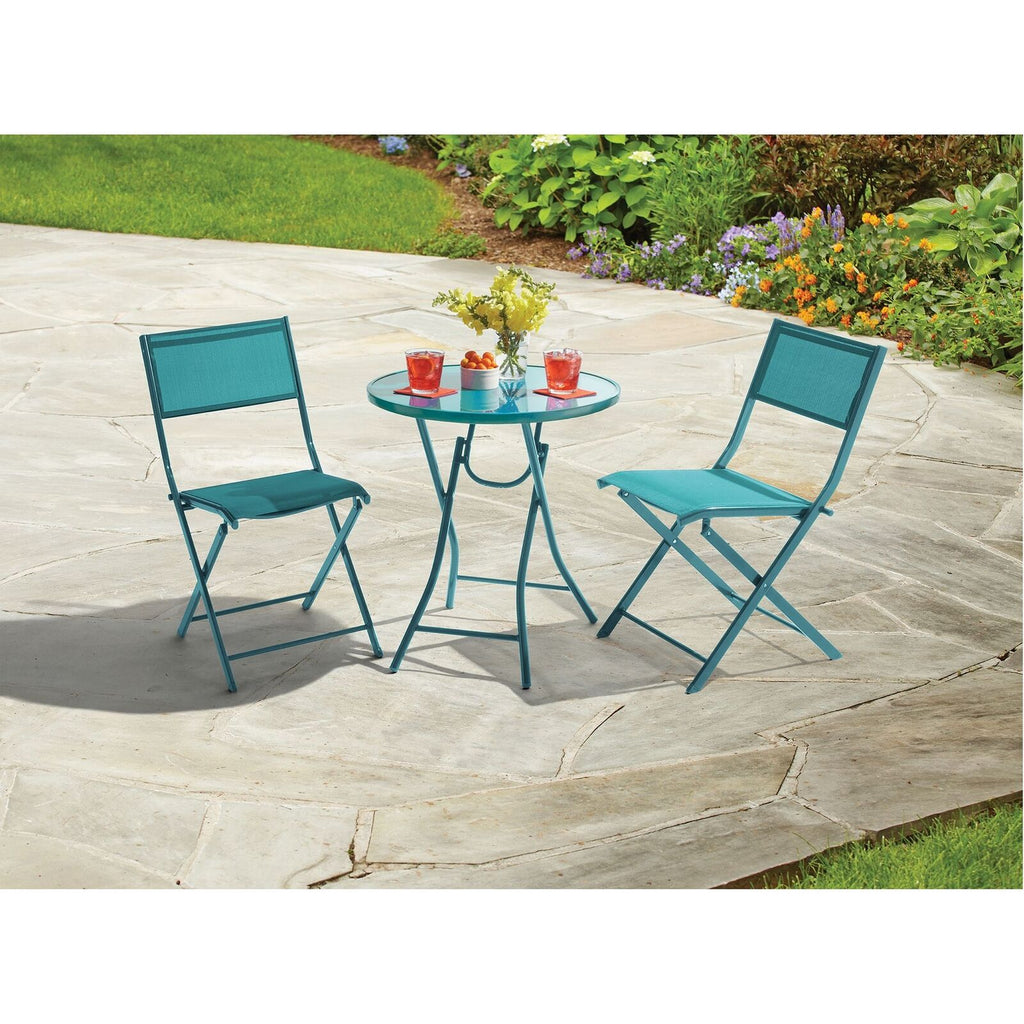 Destination Summer 3-Piece Folding Bistro Set in Teal