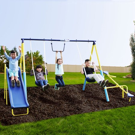 Sportspower Outdoor Super First Metal Swing Set with Trapeze, Teeter-Totter, and 6ft Heavy Duty Slide (dark blue/yellow)