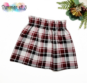 Deep Red/Black Plaid Flannel (Bloomers/Skirt)