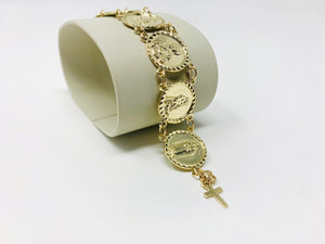 10k or 14k Gold Traditional Saints Bracelet