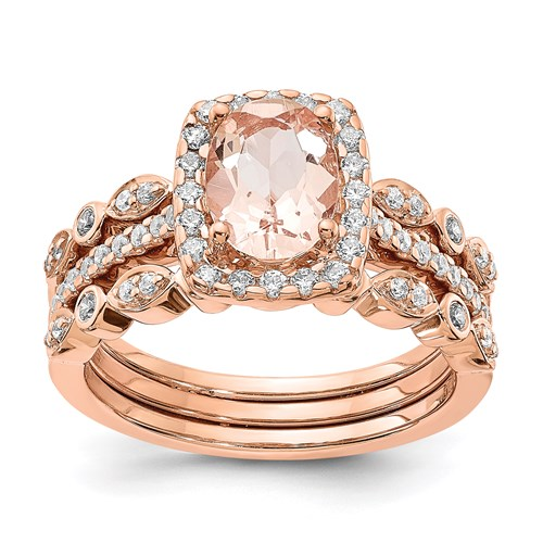 14k Rose Gold Engagement Rings and Wedding Band Set