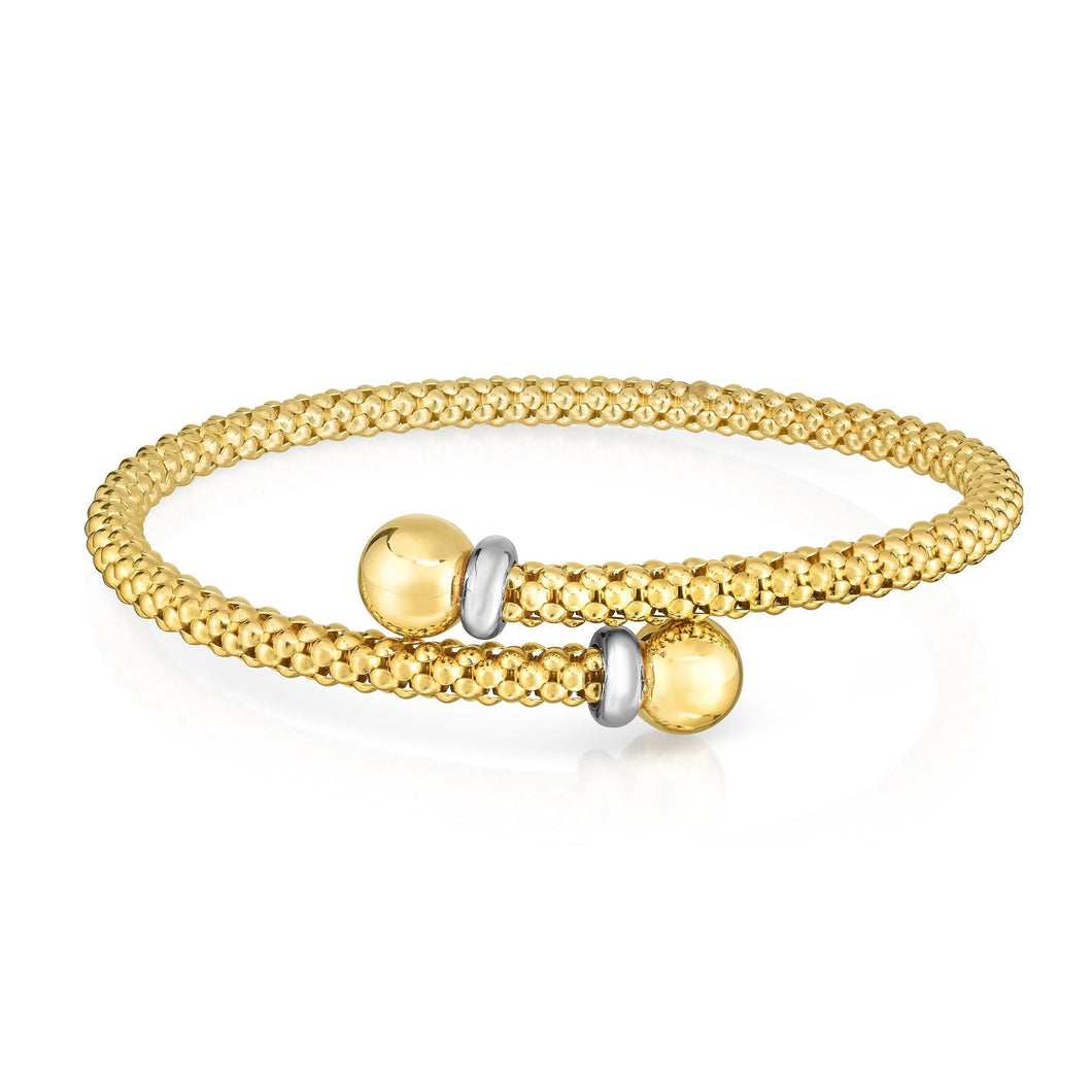 14K Gold Two-tone Bypass Popcorn Bangle