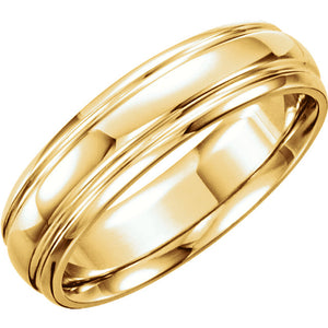 14K Yellow 6mm wide Grooved Wedding Band