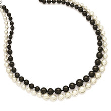 Load image into Gallery viewer, BLACK AND WHITE SHELL PEARL DOUBLE STRAND 18 INCH NECKLACE