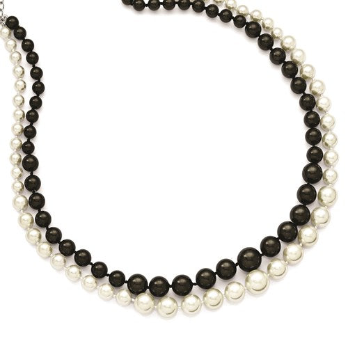 BLACK AND WHITE SHELL PEARL DOUBLE STRAND 18 INCH NECKLACE