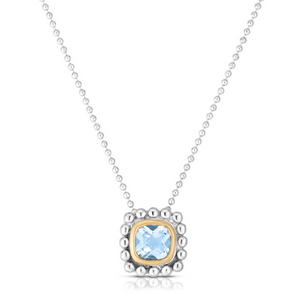 Sterling Silver & 18K Gold Quadra Popcorn Pendant With Aquamarine Precious Stone by Phillip Gavriel