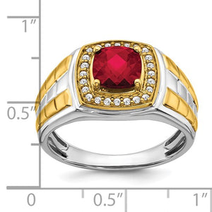 14k Two-tone Created Ruby and Diamond Mens Ring
