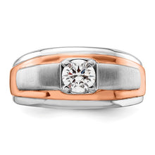 Load image into Gallery viewer, Man's 14k white and rose ring with lab created diamond