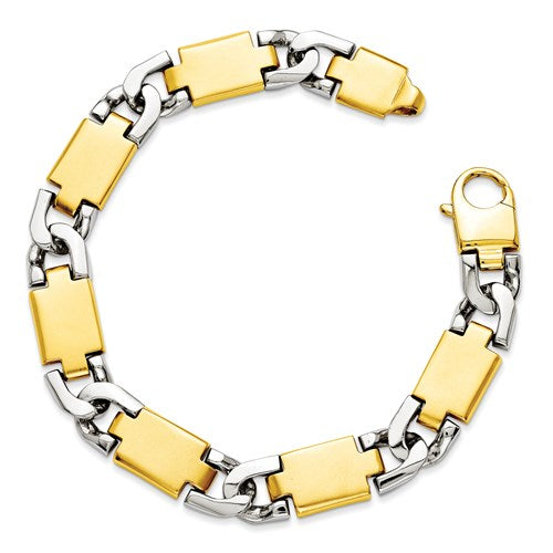 Men's 14k Two-Tone Polished Gold Fancy Link Bracelet