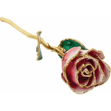 Load image into Gallery viewer, Lacquered Frozen White & Red Rose with Gold Trim