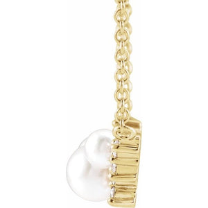 "14K Yellow Akoya Cultured Pearl & .08 CTW Diamond 18"" Necklace"